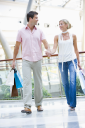 Royalty Free Photo of a Young Couple at a Mall