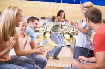 Royalty Free Photo of Friends Bowling
