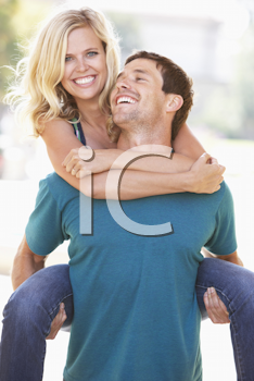 Royalty Free Photo of a Couple Having Fun