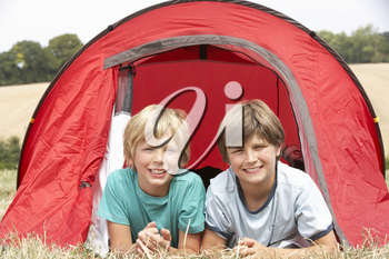 Young boys on camping trip