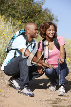 Young  couple on country hike