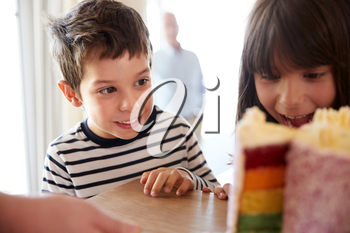 Young siblings looking at a colourful sliced birthday cake on a table, close up, selective focus