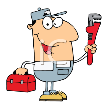 Royalty Free Clipart Image of a Man With a Wrench