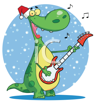 Royalty Free Clipart Image of a Dinosaur Playing Guitar on a Valentine Greeting