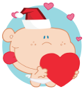 Royalty Free Clipart Image of Cupid Holding a Heart and Wearing a Santa Hat