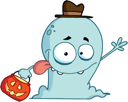 Royalty Free Clipart Image of a Trick or Treating Ghost