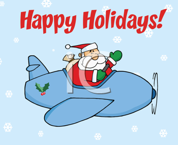 Royalty Free Clipart Image of Santa in a Plane