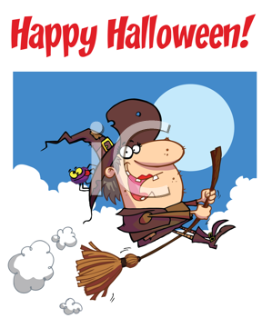 Royalty Free Clipart Image of a Witch on a Happy Halloween Greeting