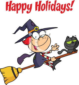 Royalty Free Clipart Image of a Witch Riding a Broom With a Cat on a Happy Holidays Greeting