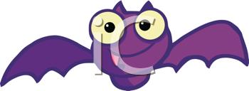 Royalty Free Clipart Image of a Happy Purple Bat