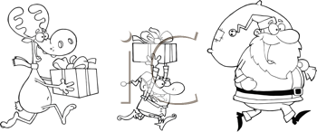 Royalty Free Clipart Image of Santa, an Elf and a Reindeer Running With Gifts
