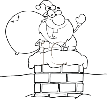 Royalty Free Clipart Image of a Santa in a Chimney