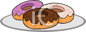 Royalty Free Clipart Image of a Plate of Donuts