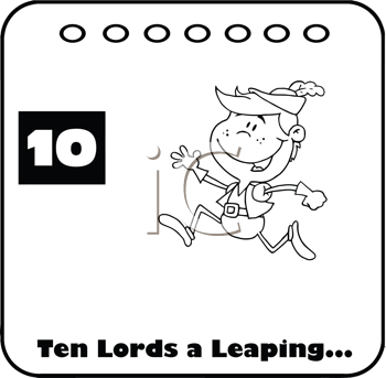Royalty Free Clipart Image of One of the Ten Lords a Leaping
