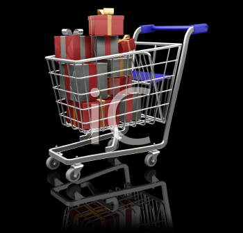Royalty Free Clipart Image of a Group of Presents in a Shopping Cart