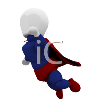 Royalty Free Clipart Image of a Caped Superhero