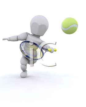 3D tennis player isolated over a white background