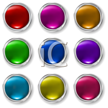Glossy buttons in different colours