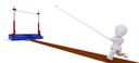3D render of a man competing in the pole vault