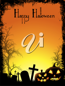 Halloween background with spooky pumpkins and graveyard