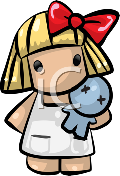 Royalty Free Clipart Image of a Little Girl Holding a Doll