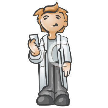 Royalty Free Clipart Image of a Smiling Guy in a Lab Coat Holding a Card