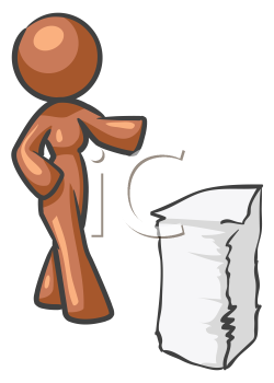 Royalty Free Clipart Image of a Woman With a Stack of Paper