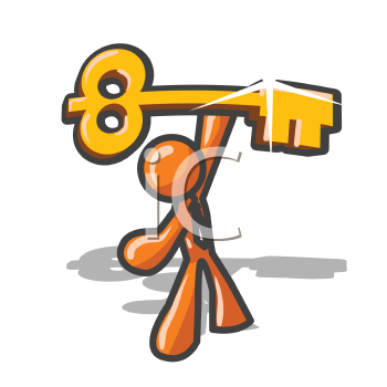 An orange man holding up the key to success in a mighty stance.