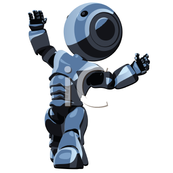 Royalty Free Clipart Image of a Blue Robot Looking Up to the Light