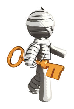 Mummy or Personal Injury Concept Walking with Large Key