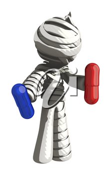 Mummy or Personal Injury Concept Choosing Between Red Pill and Blue Pill