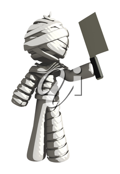 Mummy or Personal Injury Concept Holding a Cleaver