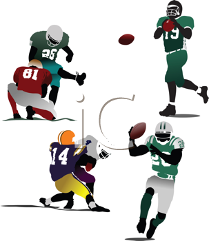 Royalty Free Clipart Image of American Football Players