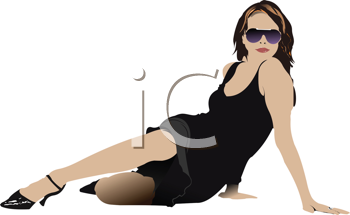 Royalty Free Clipart Image of a Woman Posing in a Black Dress