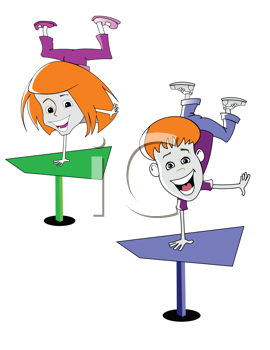 Royalty Free Clipart Image of Two Cartoon Children