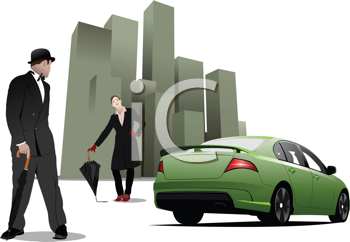 Royalty Free Clipart Image of a Man and Woman Near a Green Car and Buildings