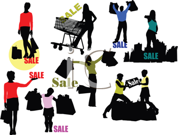 Royalty Free Clipart Image of Silhouettes of Shoppers