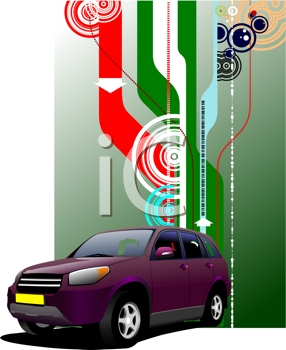 Cover for brochure with purple mini-van on the road. Vector illustration