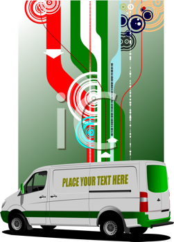 Cover for brochure with  commercial cargo mini van  image