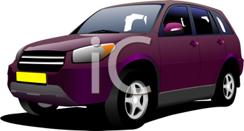 Purple mini-van on the road. Vector illustration