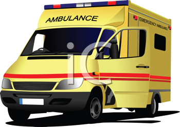 Modern ambulance van over white. Colored vector illustration