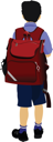 Little boy is going to school. Back to school. Vector illustration