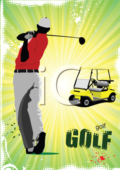 Colored poster of Golfers hitting ball with iron club and electrical car image. Vector illustration