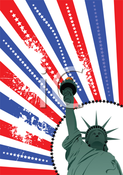 Cover for brochure with USA image, American flag and  freedom monument