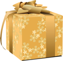 Gold decorated gift box  with gold bow. Vector illustration