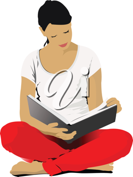 Young Woman reading book. Vector illustration