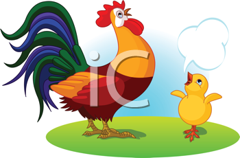 Royalty Free Clipart Image of a Rooster and Chicken With a Conversation Bubble
