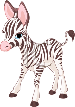 Royalty Free Clipart Image of a Baby Zebra