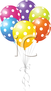 Royalty Free Clipart Image of Spotted Balloons