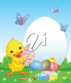 Royalty Free Clipart Image of a Duckling With Painted Eggs and Butterflies